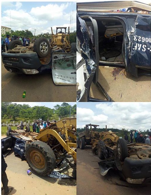 Policemen seriously injured as Tractor crushes their van