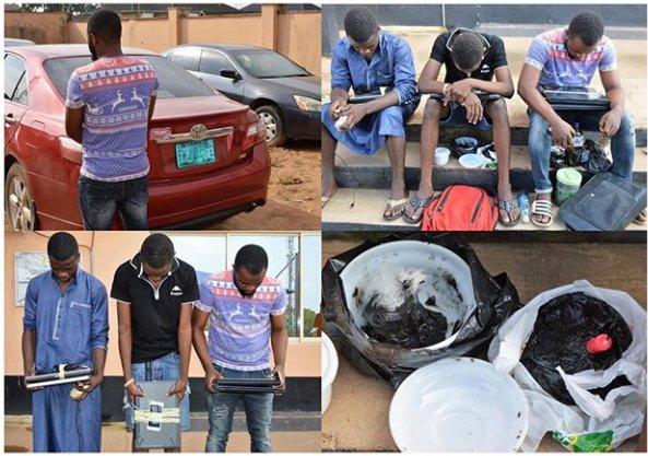 Three Yahoo Boys arrested with charms in Ibadan