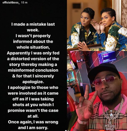 TBoss Apologizes To Davido For Calling Him Out On IG For Arresting Girls Who Alleged Said He Got One Of Them Pregnant