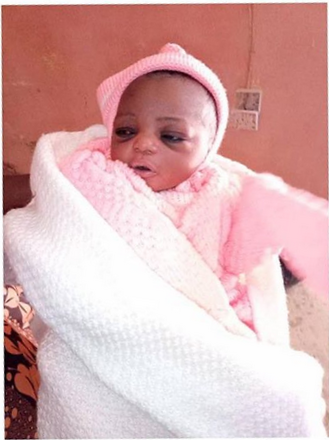 A day-old baby rescued after being abandoned in Minna